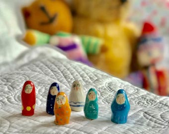 Ceramic Worry Dolls - Calico bag of six
