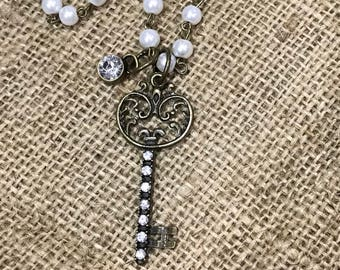 "36"" Glass Pearl Necklace, Rhinestone Key Large Pendant Neclace, Flower Chunky Long Boho Necklace, Custom Laser Engraved, Burstin"