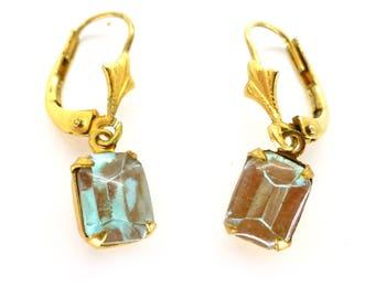 Vintage Saphiret Czech Glass  Drop Earrings