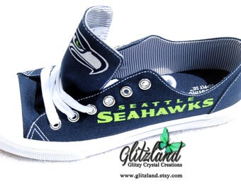 Seattle Seahawks Navy Canvas Low Tops Tennis Shoes