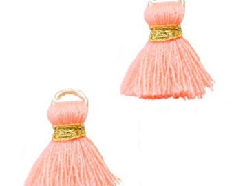 Beaded tassels, tassels, tassel pendant-1.5 cm-3 pcs.-Color selectable (color: Peach)