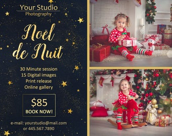 Noël de Nuit Mini Session Template - Photography Marketing Board - Christmas Night - Photoshop Template