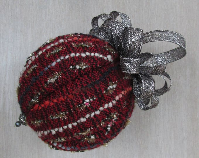 Linton Tweed Burgundy & Anthracite Christmas Tree Bauble
