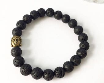 """Lava stone diffuser bracelet with buddha detail 7"""""""
