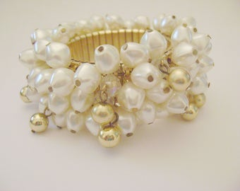 Fun Cha Cha Bracelet Gold Tone Faux Pearl, Glass AB Beads and Gold tone Beads Expansion