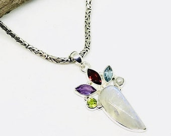 10% Rainbow Moonstone,blue topaz, garnet amethyst peridot Pendant,necklaces set in Sterling silver 925. Natural authentic stones. Length -2