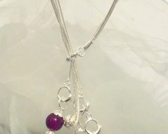 Bracelet with charm 925 silver plated bead purple Sheen and filigree beads