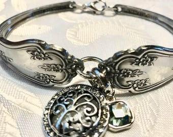 Silver plated spoon charm bracelet