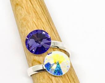 Sterling silver adjustable Swarovski Rivoli double stone ring