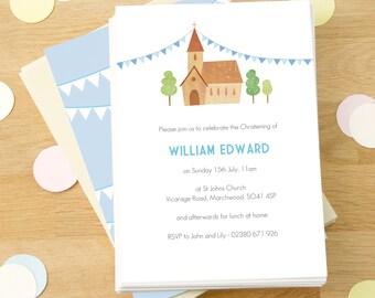 Personalised Boy's Christening Invitations -- Minimum order 8
