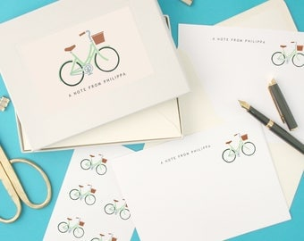 Personalised Green Ladies Bike Notecards Writing Set