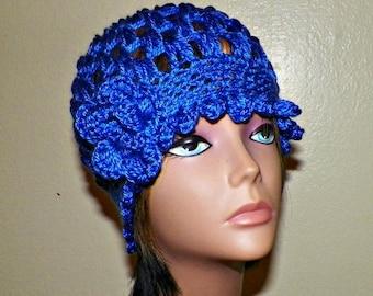 On Sale- Cloche Hat Blue Flapper  Womens Downton Abby Freeform Beanie Crochet Flower Gatsby Bucket 1920s Style