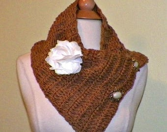 On Sale- Chunky Triangle Scarf Brown Infinity Button Cowl  Winter Neckwarmer With Flower  Brooch Freeform Crochet