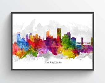 Sacramento Skyline Poster, Sacramento Cityscape, Sacramento Art, Sacramento Decor, Home Decor, Gift Idea, USCASA13P