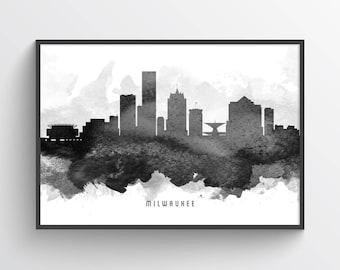 Milwaukee Wisconsin Skyline Poster, Milwaukee Art, Milwaukee Cityscape, Milwaukee Decor Home Decor, Gift Idea, USWIML11P