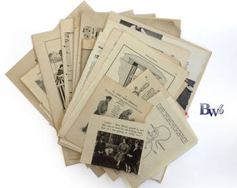 Black and White 36: illustration rich vintage paper ephemera pack with black and white themed ephemera. Art Pack.