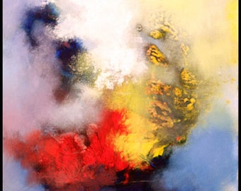 Abstract Original OIL painting on canvas,red,blue,yellow ,original painting,