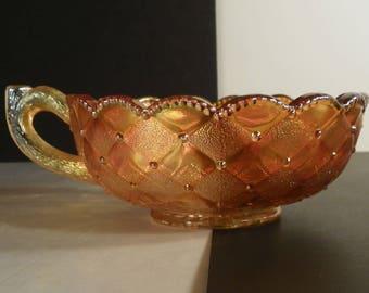 Imperial Carnival Glass Pansy Nappy Marigold Handled Bon Bon