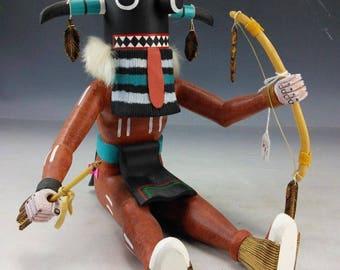Native American Hopi Hand Carved Cottonwood Tuhavi Kachina 9 x 9 Inches William Volz