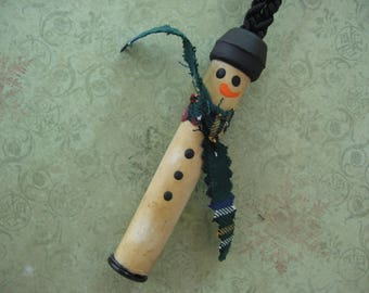 Christmas Ornament Handmade from Old Ceramic Insulator, Snowman with Plaid Cotton Scarf and Painted Features