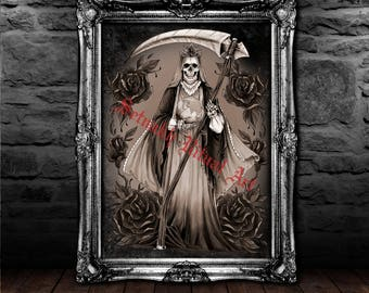Santa Muerte print, saint death poster, magic illustration, magic poster, magic print, skeleton print, occult print #435.1