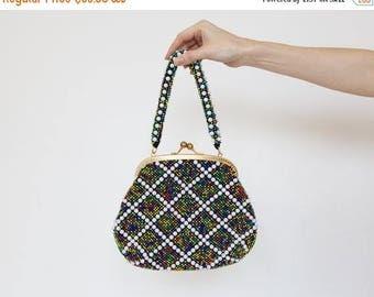 On Sale vintage beads bag / multicolor beaded effect bag / 60s small hand bag / blue purse / blue beaded like purse / checked purse