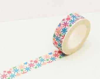 Pink Blue Green Star Starburst Washi Tape - Single Roll Set - 15mm x 10 metres - Journal Adhesive Decorative Tape Masking