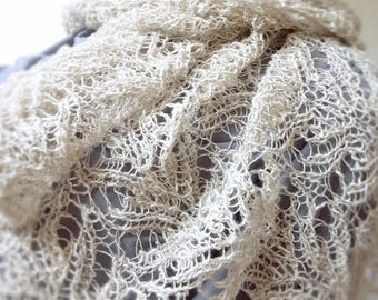 Handknitted Linen Lacy Bactus Scarf, Womens Boho shawl, Knitted shawl, Hand knitted shawl, Hand knitted wrap, Knitted bactus, Linen bactus