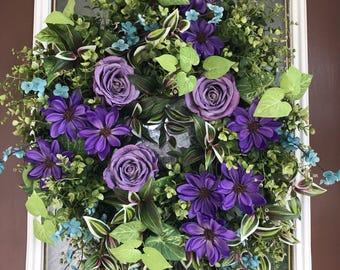 Ready To Ship, Front Door Wreath, Eucalyptus Wreath, Summer Wreath, Purple Wreath, Elegant Wreath, Spring Wreath
