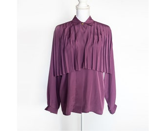 80s 90s Purple Blouse, Vintage Blouse, Pleated Cape Blouse, Pleat Blouse, Button Down Blouse, Size Medium Blouse