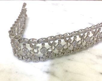 Vintage Style 3.13 Carat Diamond Floral Diamond Bracelet