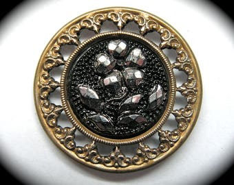 Antique Button ~ Large Black Glass w Floral set in Metal w Silver Luster