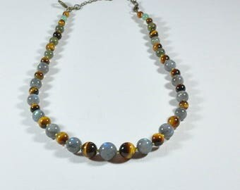 Necklace high quality labradorite and Tiger eye with safety clasp