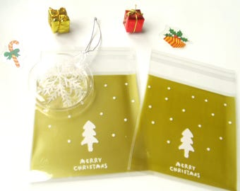 10 pockets gold tree 10cmx10cm transparent gift bags