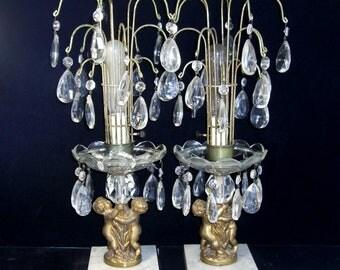 Pair Crystal Waterfall Lamps, Cherubs Putti, Prisms, Marble Bases, Vintage