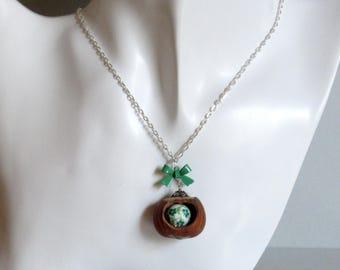 Necklace pendant nature Hazelnut ribbon Green
