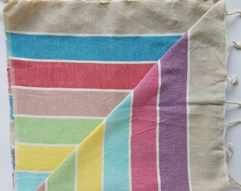 SERAPE STRIPE Skinny Boho Linen Cotton Turkish Beach Towel, Wrap, Sarong, Table Runner, Peshtemal Towel with Fringe, Premium Turkish Towel