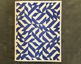 Square Pattern - Blue