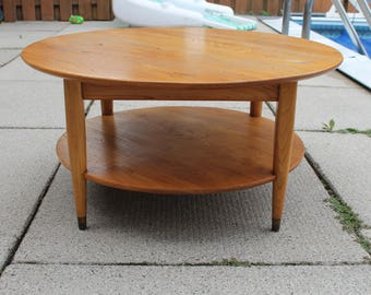 Mid Century Modern Coffee Table - Vintage Danish Modern Round Coffee Table - Low Profile Two Tier Coffee Table - Vintage Round Wood Table