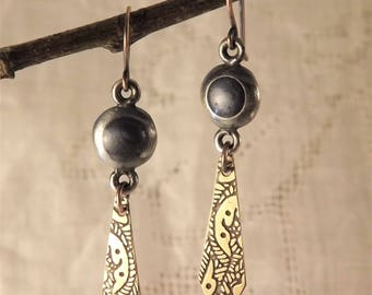 Enameled Bead and Brass Drop Earrings (Necktie)