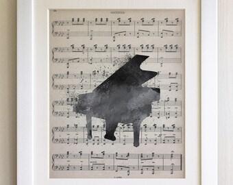 """FRAMED Piano Print, 12""""x10"""" Black or White Frame, Modern Art"""
