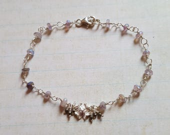 Pretty Coated Amethyst 925 Sterling Silver Rosary Link Bracelet