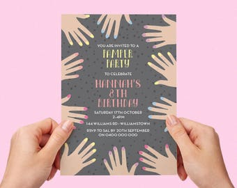 Pamper Party Invite Spa Party 5th 6th 7th 8th 9th 10th Manicure Painted Nails Birthday Invitation Custom Personalised Printable Girls