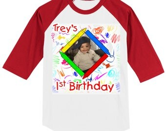 Child's Birthday crayons photo  T shirt RAGLAN - your picture, child's name, and birthday number, your choice sleeve color - 0616