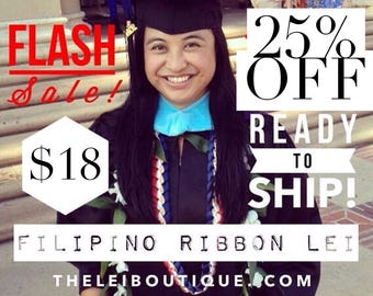 25% OFF! Graduation Filipino Lei Single Braided Ribbon Lei - Navy Blue, Red, White with Yellow or Old Gold (pictured)