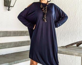 Blue Navy Asymmetric Dress - Blouse - Tunic / Plus Size Dress / Asymmetric Plus Size Dress-Blouse-Tunic / Oversize Dress / #35031