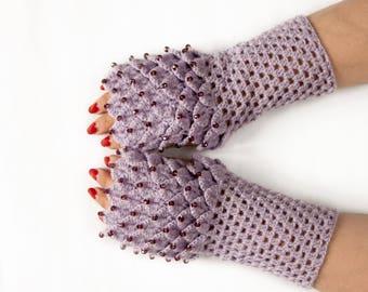 Crystal gloves, Crocodile Fingerless Gloves, Dragon Scale Fingerless Gloves, Dragon Gloves, Crocodile stitch, Сhoice color, Christmas Gift