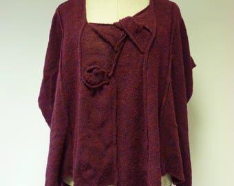 Warm boho aubergine knitted vest, XL size.