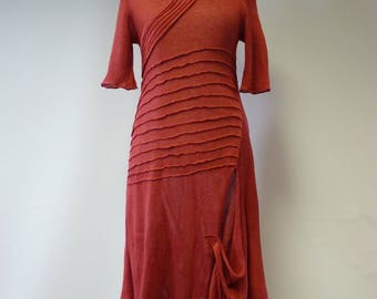 Special price, coral linne long dress, L size.