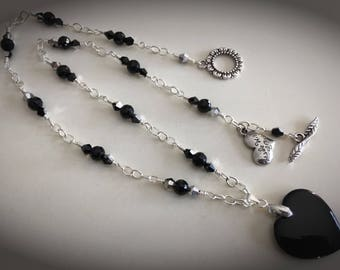 Valentines Day is Just Around the Corner! This Heart Onyx Pendant Necklace Will Do!!